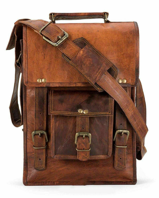New Men's 18 Large Satchel Genuine Leather Messenger Briefcase Laptop Sling Bag