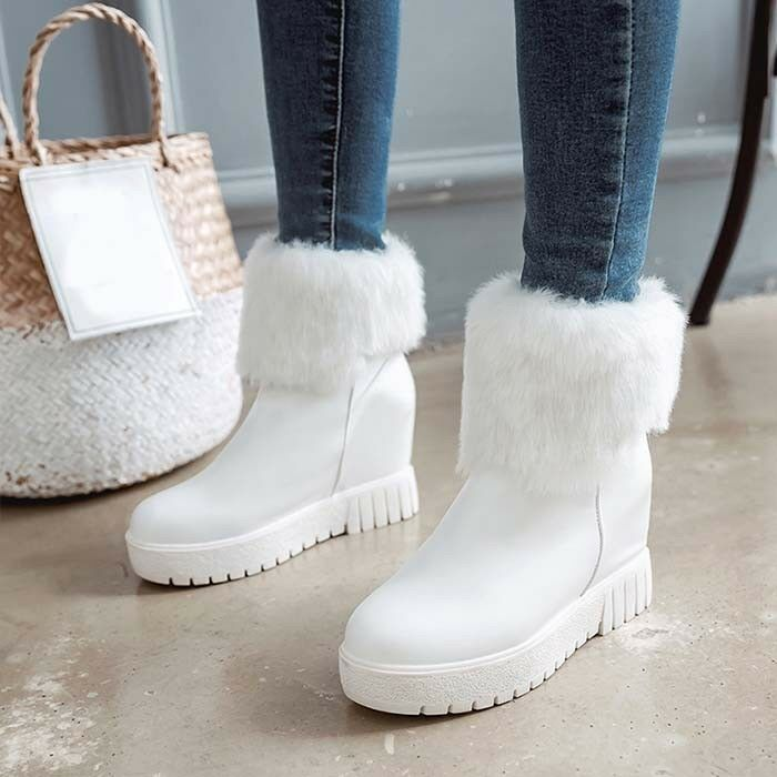 New Winter Womens Snow Boots Hidden Heel Pull On Warm Fur Lining Ankle Boots Sz