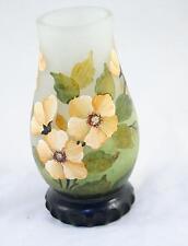 France Daum Nancy Vase Flowers Cameo Glass Hand Painting 30's