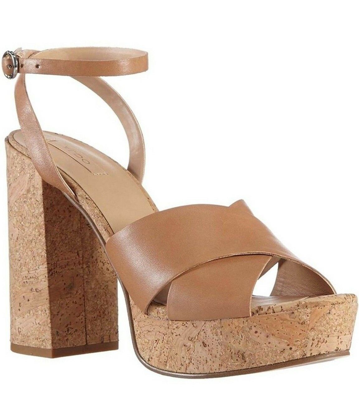 ALDO RIVALGO SIZE 7 40 TAN PINK CORAL CORK HEEL REAL LEATHER SANDALS Schuhe