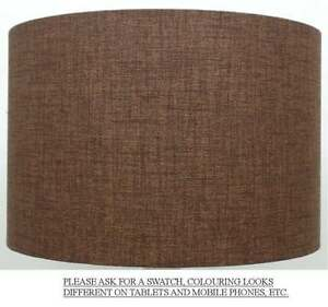 Image Is Loading Chocolate Brown Linen Style Cylinder Drum Lampshade Pendant