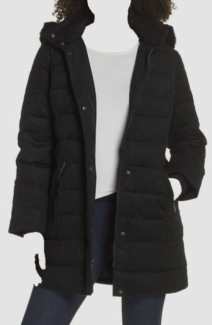 $985 UGG Women's Black Hooded Water Resistant Shearling Trim Down Coat Size XL