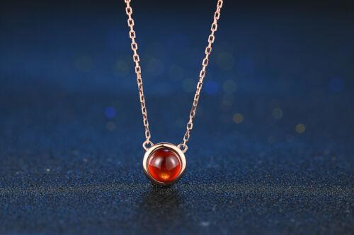 Natural Gemstone Garnet Pendant 925 Sterling Silver 18K Rose Gold Chain Necklace