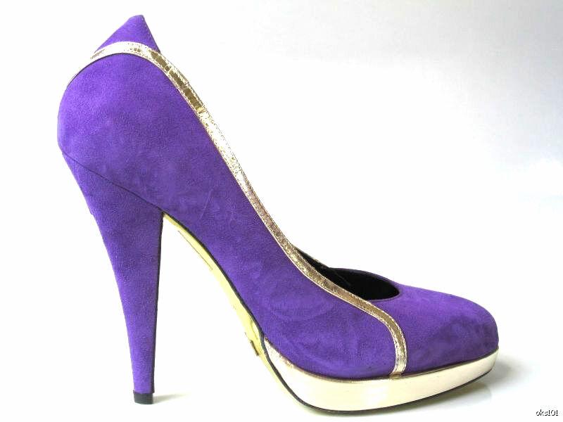 NIB  590 Be &D purpur  guld guld guld mocka PLATTORMS -skor  ej att förglömma!