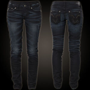 Details zu AFFLICTION Damen Jeans Raquel Modern V Stones Journey Schwarz Affliction