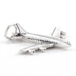 AIR-PLANE-Charm-Pendant-airplane-Jet-Travel-STERLING-SILVER-925-3D