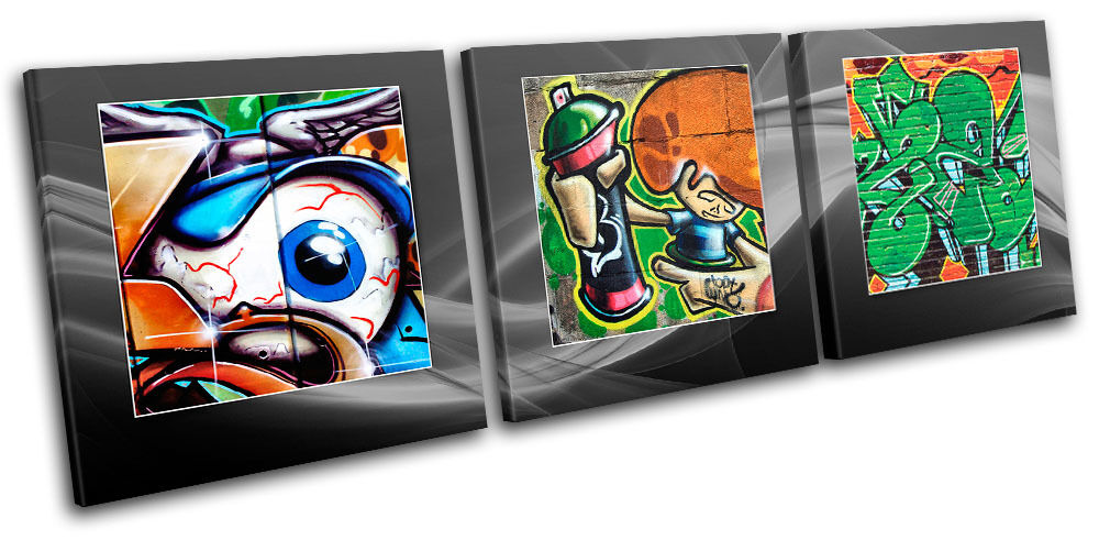 Abstract Funky Graffiti TREBLE Leinwand Wand Kunst Bild drucken