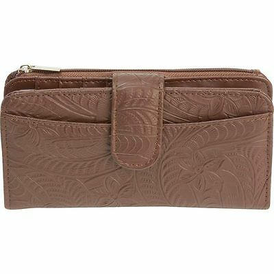 Brown Womens Snap Closure Leather Wallet, Bifold Clutch ID Pocket Credit Holder