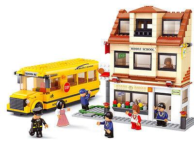 SCHOOL BUS WITH SCHOOL * 496 pcs * Large Set COMPATIBLE BRICKS * City