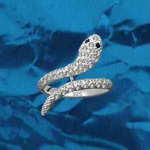 Ladies-anillo-Snake-real-925-Sterling-Silver-rhinestones-Crystal-cubic-zirconia-GB