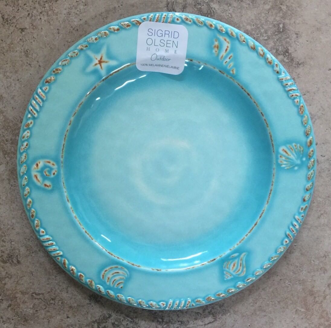 Sigrid Olsen Aqua bluee Sea Shell Coastal MELAMINE Dinner Plates Set 4 Star Fish