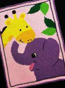 Crochet-Patterns-ELEPHANT-and-GIRAFFE-Color-Graph-BABY-GIRL-Afghan-Pattern