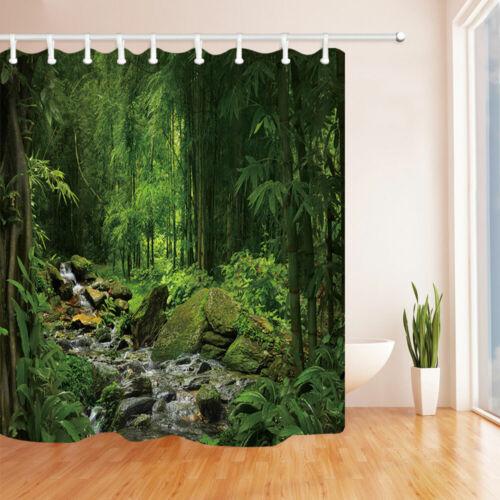 Green Forest Stream Shower Curtain Bathroom Curtain 12 Hooks 70in