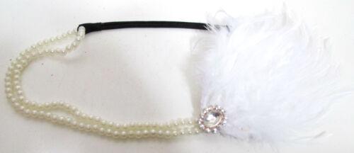 Weiß Feder /& Perlen Strass Flapper Kopfbedeckung Stirnband Great Gatsby 1920s