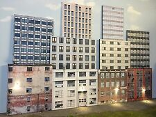 O Scale Scratch Built Up 3D Collage -10 City Building Flats Backdrop, MTH Lionel