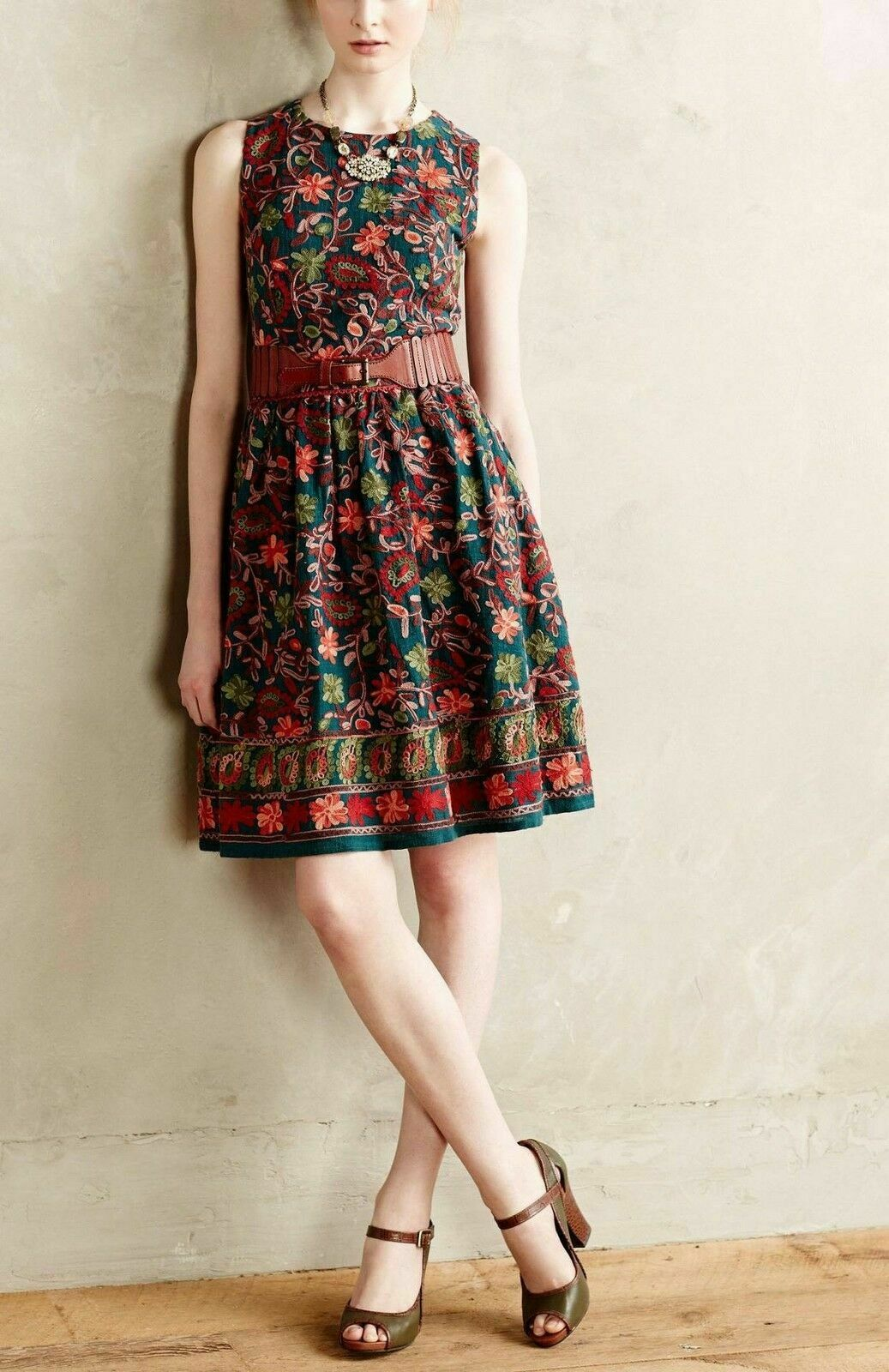 NWT Anthropologie Needlepoint Garden Dress by Adelyn Rae.Embroidered Size 8 New