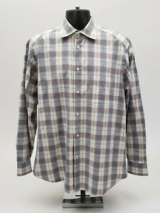 Zegna-Sport-Men-039-s-Shirt-Size-Large-Blue-Tan-Check-Plaid