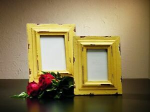 Wood Picture Frame Distressed Yellow 4x6 Or 5x7 Farmhouse