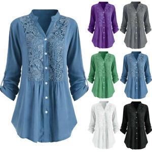 Women-Ladies-Button-Lace-V-Neck-Long-Sleeve-Shirt-Tunic-Tops-Blouse-Size-S-5XL
