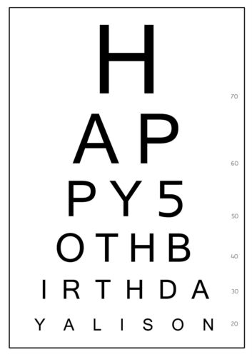 ICING SHEET ANY MESSAGE BIRTHDAY A4 PERSONALISED EYE TEST CHART CAKE TOPPER