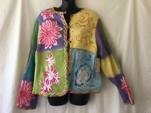 Sandy-Starkman-Womens-XL-Cardigan-Sweater-Long-Sleeve-Multi-Color-Floral-NEW