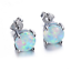 1 Paire Femme Fashion 925 Silver Jewelry White Fire Opal Charm Stud Earring NEW !