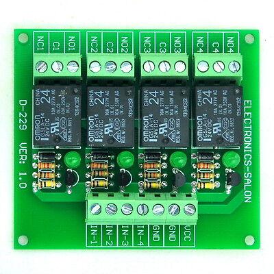 Four(4) SPDT 10Amp Power Relay Module, DC24V Version, for Arduino / PIC / 8051