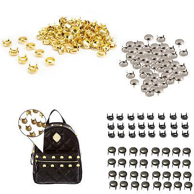 100 x 5mm Gold Round Studs Rivets Leather Craft Punk Studs Goth spike Bag