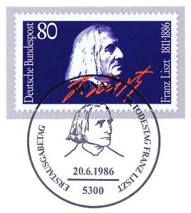 BRD-1986-Franz-Liszt-Nr-1285-mit-sauberem-Bonner-Ersttagssonderstempel-1A-1701