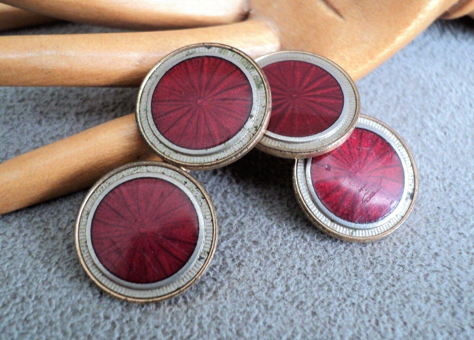 Vintage Red Enamel Cuff Links