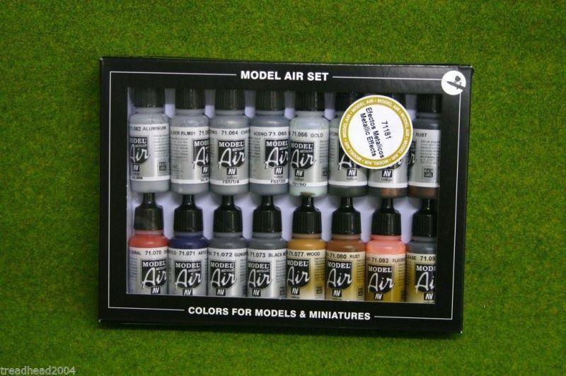 VALLEJO METALLIC EFFECTS Model Air Colour 16 bottle set 71181