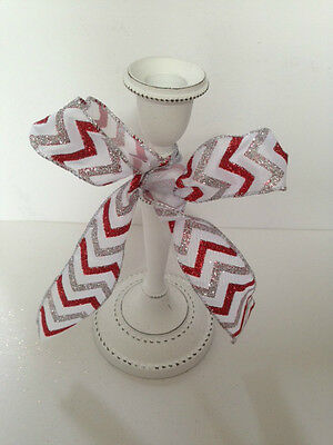 ZIG ZAG Candy Glittery Stripe Red & Silver Christmas - Luxury Wire Edged Ribbon