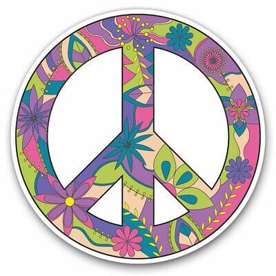 Flowery Peace Symbol Logo Hippy Cool Gift #5874 2 x Vinyl Stickers 10cm