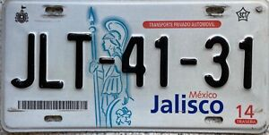 Mexico Jalisco License Mexican Licence Number Plate JLT-41-31
