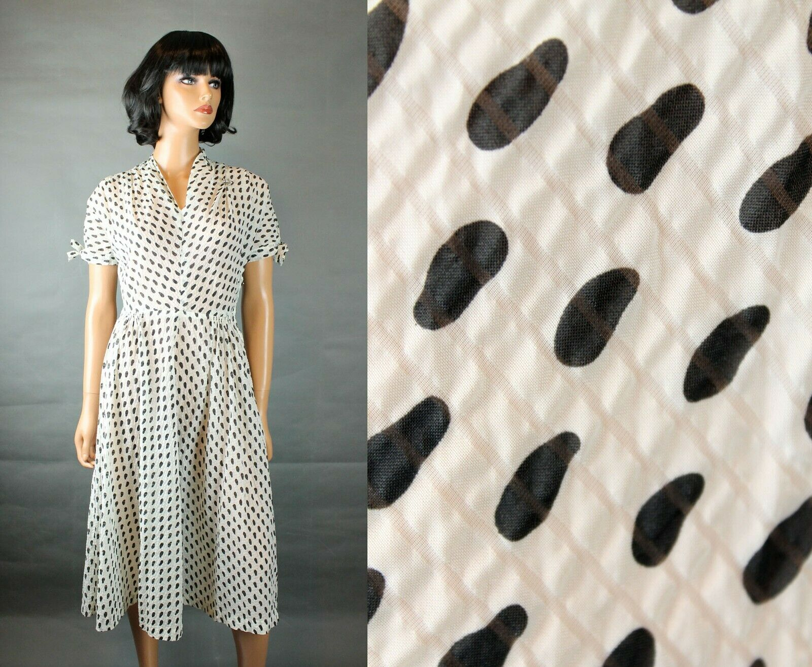 50s Party Dress S Vintage Sheer Chiffon Black White Polka Dot Striped Prom Gown