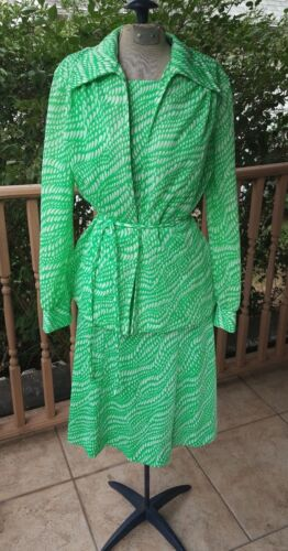 1970s Vintage Green & White Skirt, Top, Jacket Belt Set VTG 60s Melanie of Miami