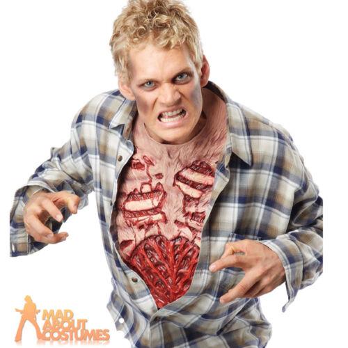 Adult Zombie Chest Piece Blood Guts Halloween Ribs Fancy Dress Accessory