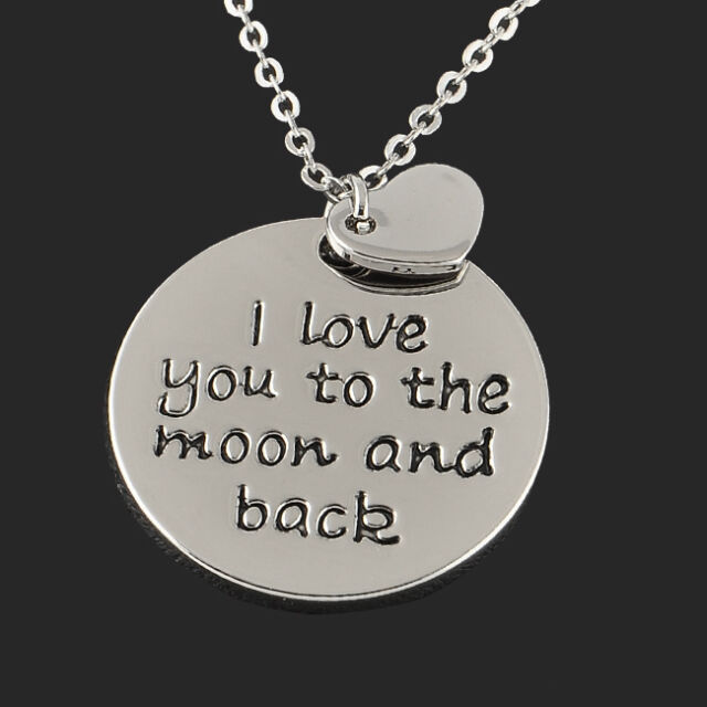 Hot Sale Fashion Silver Love Quote Charm Round Heart Pendant Necklace Gift