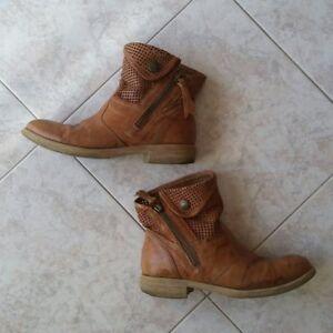 Dettagli su Stivali stivaletti bassi tronchetto NeroGiardini n.35 color cuoio marrone