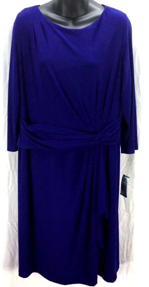 Jones New York Shift Dress Size 16 XL bluee Sheath 3 4 Sleeve Drape New 4104