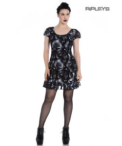Hell Bunny Alchemy Gothic Black Skater Mini Dress ASH Crows Skulls XS 8 and S 10