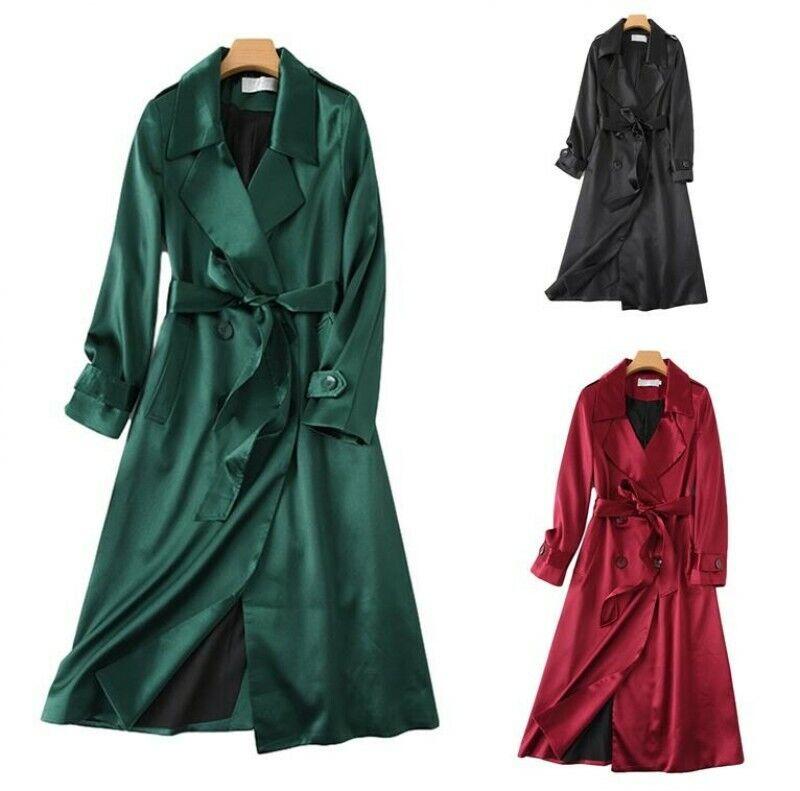Women Lapel Collar Double-breasted Windbreaker Business Party OL Outwear Coat L
