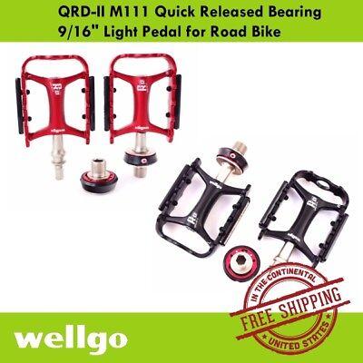 "Wellgo QRD-II M111 Quick Released  9//16/"" Road Folding Bike Pedal Orange Gold"