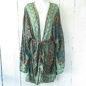 New-Angie-Kimono-S-Small-Teal-Floral-Paisley-Tie-Front-Boho-Peasant