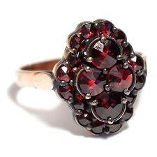 Eleganter Rotgold & Silber GRANAT RING, Jugendstil Entwurf / Garnet Gold