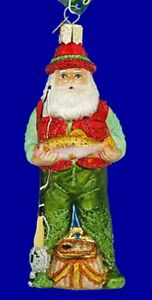 Old-World-Christmas-FLY-FISHING-SANTA-40209-N-Glass-Ornament-w-OWC-Box