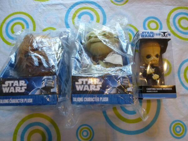 * Nouveau * Star Wars X3 Soft Peluche Yoda Chewbacca Cantina Bobble Head Talking Des Biens De Chaque Description Sont Disponibles