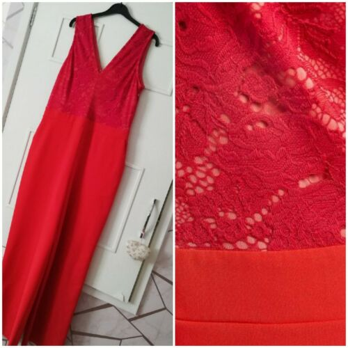 NEXT SIZE UK 10 RED LACE TOP 2 IN 1 STYLE WIDE LEG JUMPSUIT BNWT RRP £65 021