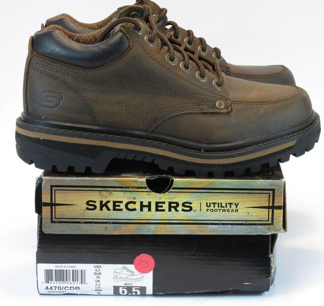 d40895ddb23d6 SKECHERS Men's MARINERS Dk Brown Leather Utility/Work Boot US 6.5 M, EU 39