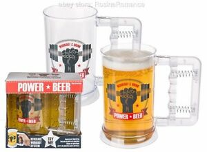 Novelty-Power-Beer-Mug-Muscle-Hand-Strengthener-Gym-Addict-Drinking-Exercise
